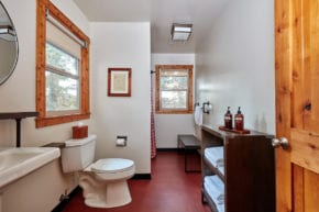 Evergreen Lodge Deluxe King Cabin Bathroom (Kim Carroll)