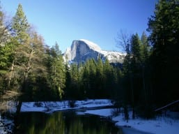 Half Dome and the Merced River in Winter